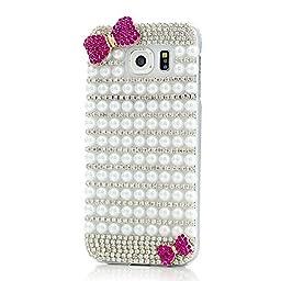 Samsung Galaxy S7 Edge Case, Sense-TE Luxurious Crystal 3D Handmade Sparkle Diamond Rhinestone Clear Cover with Retro Bowknot Anti Dust Plug - Lattice Grid Bowknot / White