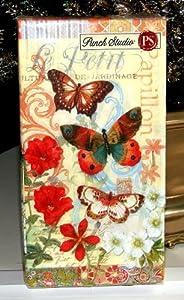 Punch Studio Boutique 16 Ct Paper Guest Towels / Dinner Napkins, Orange Butterfly Papillon