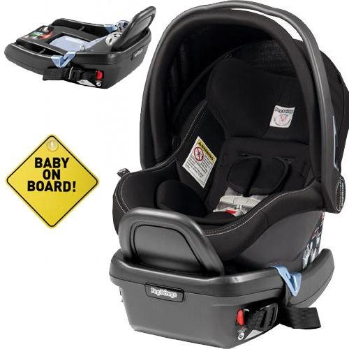 peg perego primo viaggio 4 35 car seat w extra base and baby on board sign onyx baby. Black Bedroom Furniture Sets. Home Design Ideas