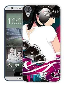 "Humor Gang Girl Headphones Music Printed Designer Mobile Back Cover For ""HTC DESIRE 820"" (3D, Matte, Premium Quality Snap On Case)"