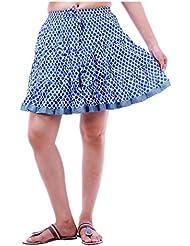 Sunshine Enterprises Women's Cotton Wrap Skirt (Blue) - B01HELQ3NK