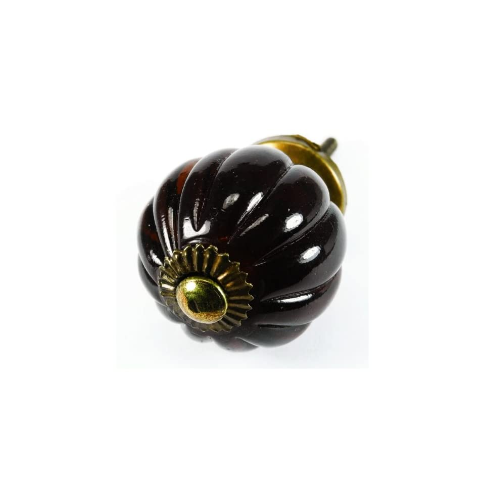 Dark Amber Pumpkin Glass Cabinet Knobs, Drawer Pulls & Handle Set/2pc