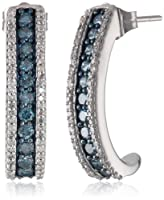 10k White Gold Blue and White Diamond J Shape Earrings (1 cttw, I-J Color, I3 Clarity) by Verigold Jewelry