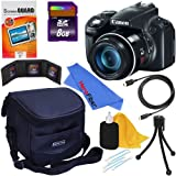 Canon PowerShot SX50 HS 12MP Digital Camera with 50x Optical Zoom (Black) + 8pc Bundle 8GB Accessory Kit w/ HeroFiber Ultra Gentle Cleaning Cloth