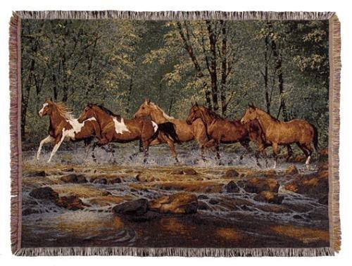 "Spring Creek Run Horse Afghan Throw Blanket 50"" X 70"" front-588158"