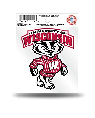 Wisconsin Badgers Bucky the Badger Static Cling Car Decal (Badger Window Decal compare prices)