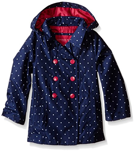 London Fog Little Girls Enhanced Radiance Polka Dot Trench Coat, Navy/White, 6X