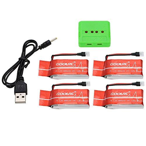 GoolRC 4pcs 3.7V 600mAh 25C Lipo Batterie et 4-Port Chargeur pour GoolRC T5 T5C T5W