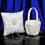 Topwedding 2 Heart Rhinestones Ivory Satin Flower Girl Basket and Ring Pillow Set