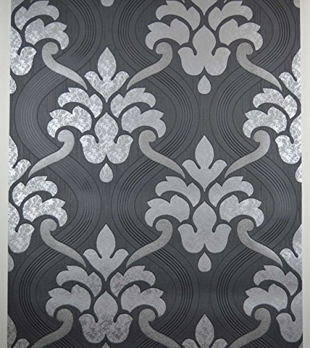 glitter-wallpaper-black-silver-grey-textured-vinyl-damask-paste-to-wall