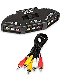 """Rtsâ""""¢ High Quality 3-Way Audio Video AV RCA Switch Selector Box Splitter For XBOX XBOX360 DVD PS2 PS3 with AV Cable - 2 Year Warranty With Rts (Radhey Techno Services)"""