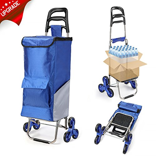 Upgraded Folding Shopping Cart, Stair Climbing Cart Waterproof Grocery Laundry Utility Cart with Wheel Bearings Stainless Steel Frame, Blue [+Peso($49.00 c/100gr)] (US.AZ.55.99-0-B01M0MA99M.2561)