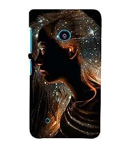 PrintVisa Glitter Silhouette Art Girl 3D Hard Polycarbonate Designer Back Case Cover for Nokia Lumia 530