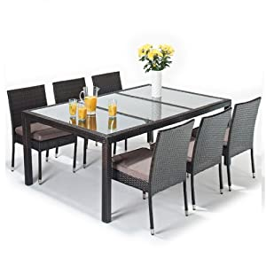 Hf4you 6 Seater Garden Seville Rattan Dining Set-6 Chairs ...
