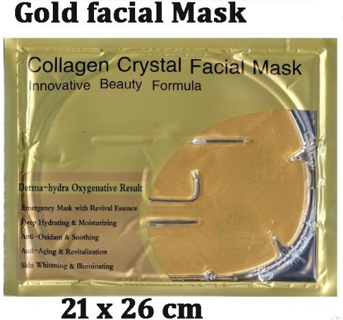 Collagen 24K Gold Facial Mask Anti Wrinkle Blemish Clearing Moisturizing Hydrate.