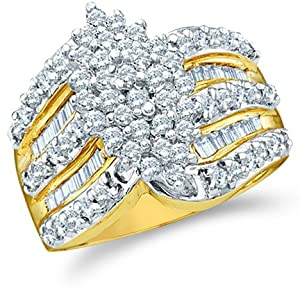 Size - 6.5 - 10k Yellow and White Two 2 Tone Gold Large Marquise Shape Cluster Round Cut & Baguette Diamond Engagement Wedding Ring Band 15mm (1.02 cttw)