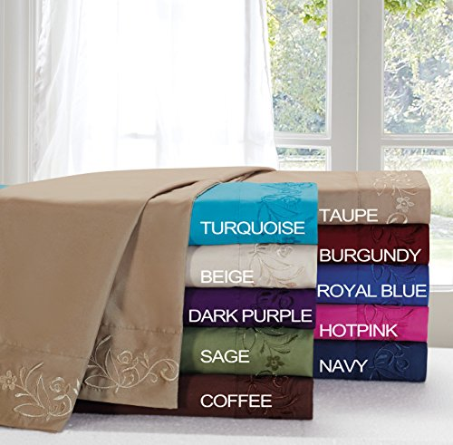 Fancy Collection 1200 Tc 4 Pc Sheet Set Embroidery Wrinkle Free High Quality Full Size Bedding S (Turquise) front-4846