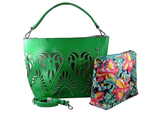 MARINA GALANTI borsa donna 2 in 1 borsa TRAFORATA a Spalla a Tracolla con borchie in metallo 2 borse in 1. Verde
