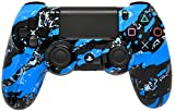 Blue Splatter Master Modded PS4 Controller with Rapid Fire / Burst / Dropshot / Jumpshot / Quick Scope / Sniper Breath / Auto Aim / Auto Spot / Auto Sprint / Turbo Melee and More! All Games Inc COD