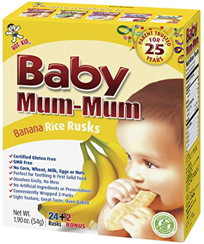 Baby Mum-Mum Rice Rusks, 24 + 2 Pieces, Banana (Pack of 6) (Mum Baby Food compare prices)