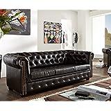Couch Chesterfield Antikbraun 200x90 cm 3-Sitzer Sofa abgesteppt