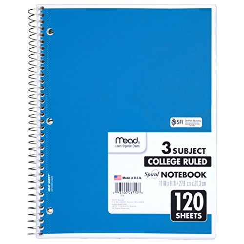 Mead Spiral Notebook, 3 Subject, College Ruled, 8 x 11 Inch, 120 Sheets, 1 Each, Assorted-Color May Vary(6710)