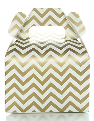Wedding Favor Boxes, Gold Chevron Zig-Zag (12 Pack) - Mini Square Gift Box Set, Candy Box for Party Boxes, Favor Boxes, Gable Boxes or Treat Boxes (Custom Treat Boxes compare prices)