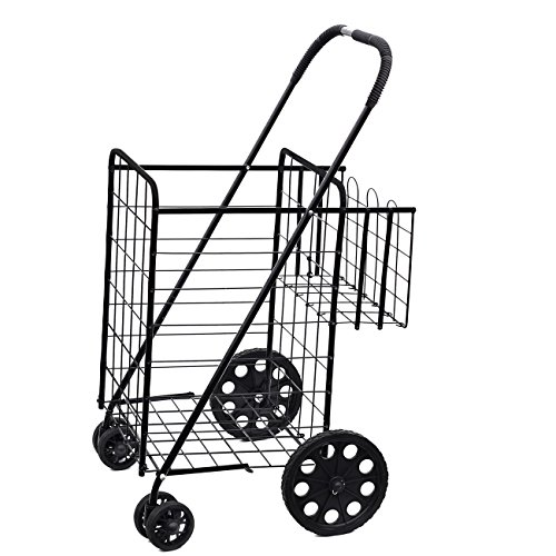 Folding Shopping Cart with Double Basket- Jumbo Size 150 lb Capacity Black, Grocery Shopping Made Easy w/ Spinning Wheels (Baskets With Wheels compare prices)