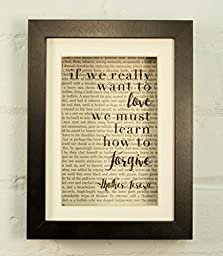 If We Really Want To Love We Must First Learn How To Forgive Mother Teresa Inspirational Quote Upcycled Vintage Book Page 6x8 Framed Art Shadow Box