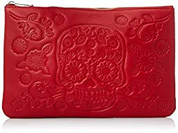 Loungefly Flower Skull Pouch Clutch, Red, One Size