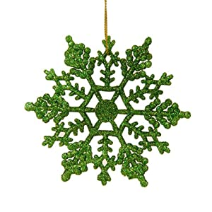Club Pack of 24 Xmas Green Glitter Snowflake Christmas Ornaments 4""