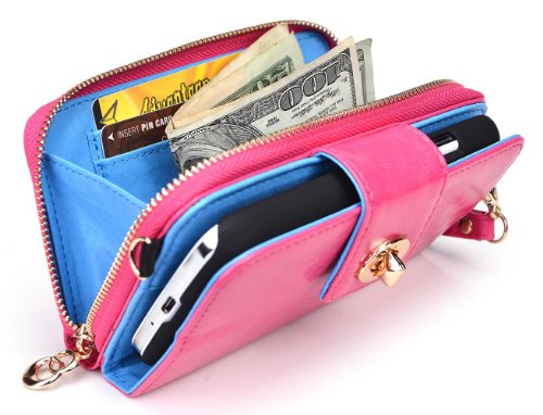 Htc One Wallet Case With Built-In Stand And Credit Card Holder - French Rose Magenta