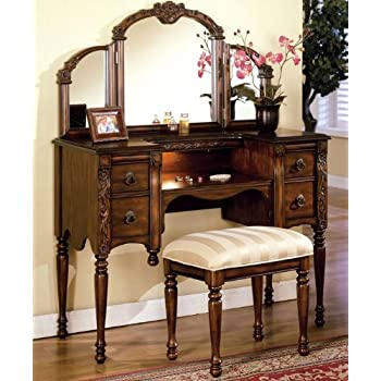 Dark Oak Finish Wood Vanity Set by Acme Furniture