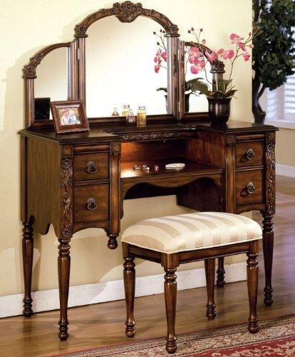 Dark Oak Finish Wood Vanity Set by Acme Furniture 0
