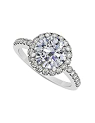 Halo Engagement Ring With Cubic Zirconia April Birthstone In 925 Sterling Silver 2.50 CT TGW