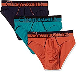 Chromozome Men's Cotton Brief (Pack of 3) (8902733349680_WS 02_Small_Navy, Orange and Aquatonic)