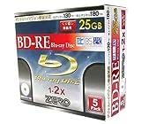 ZERO Blu-ray25GB繰り返し録画用ノーマルプリンタブル1-2倍速スリムケース1枚入りX5枚 ZBRE25-2X5PW
