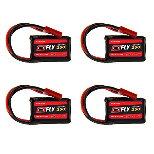 Venom Fly 30C 1S 250mAh 3.7V LiPo Battery with Micro Losi and JST Plug x4 Pack Combo (Rc Micro Plug compare prices)