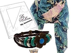 La Loria Damen Geschenkset Schal Blau und Leder Armband Flower Geschenkbox - Geschenk für Frauen Geburtstag Muttertag