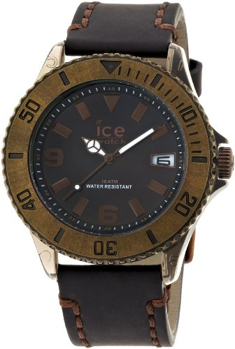 Ice-Watch Unisex Watch Analogue Quartz Ice-Black bronze Vintage Big-Black Face-Black Leather Strap-VT.BKB.B.L.13