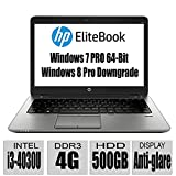 HP Thin and Light EliteBook Premium Build G1 14-Inch Anti-Display Notebook with Intel Core Processor / 4GB Memory / Intel HD Graphics 4400 / Bluetooth / UPTO 15 Hours Run Time/ Windows 7 Professional 64-Bit / Windows 8 Pro downgrade / only 3.7lb / Black (i3/4G/500G)