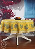 "Bouquet Yellow 71"" Round French Provencal Polyester Tablecloth"