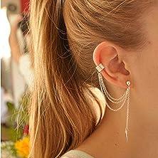 buy Gift Garden Earrings - Girl Stylish Punk Rock Gold Leaf Chain Tassel Dangle Ear Cuff Clip Earing Wrap Earrings Brincos Women