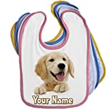 Golden Retriever Puppy Personalised Baby Bib Blue Pink Yellow or White