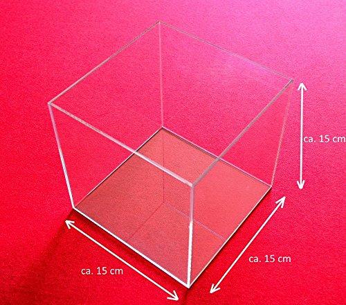 Tisch-Vitrine-Wrfel-Acryl-Glas-Schaukasten-Spuck-Staub-Schutz-Ausstellung-Gross-Transparent-15x15x15-cm