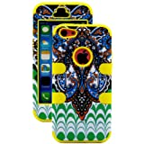 myLife Sun Yellow + Colorful Abstract Paisleys 3 Layer (Hybrid Flex Gel) Grip Case for New Apple iPhone 5C Touch... by myLife Brand Products