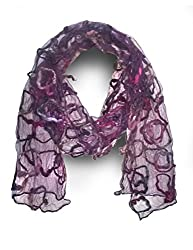 ScarfKing Acrylic Hand Embroded Scarf-Purple
