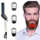 Domini Beard Straightener Comb for Men Gift- Professional Quick Heat Styling Straightening Brush for a Long Mustache with Anti-Scald Feature and Auto Off Indicator Light