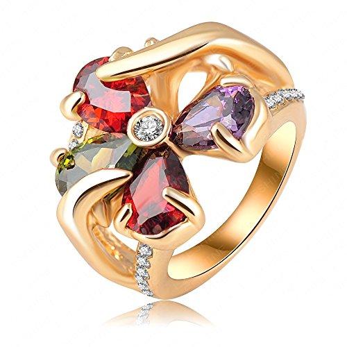 Bling-Trendy-Anello placcato in oro rosa 18 k, motivo floreale con cristalli austriaci e zirconi a forma di anelli di fidanzamento Fine HQ0217-Ri Jewelry, base metal, 19,5, cod. yglzr228-9