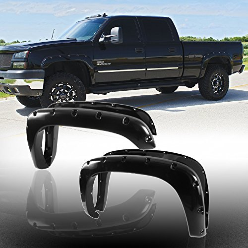 Audrfi 4pc Pocket Rivet clip-in Smooth Blk Fender Flares for Chevy/GMC Multiple Models (2004 Suburban Fender Flares compare prices)